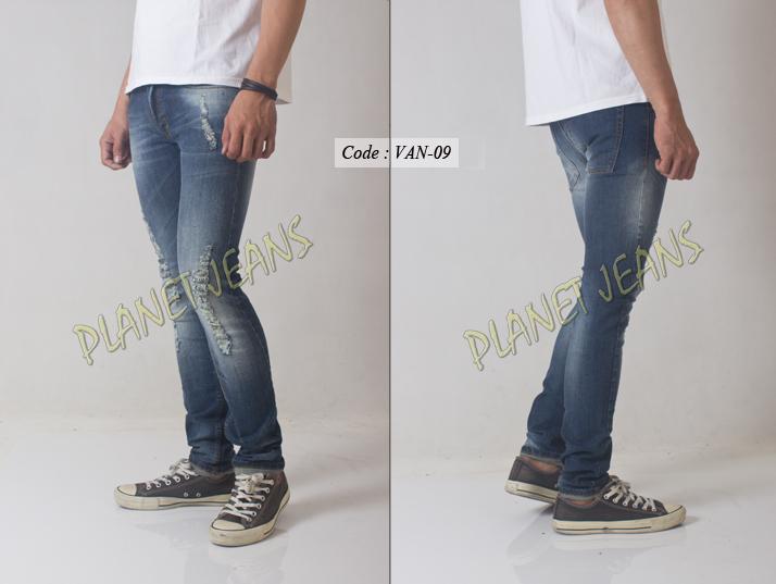 Jual VAN09- celana jeans skinny ripped cowok model sobek / robek untuk pria - Toko