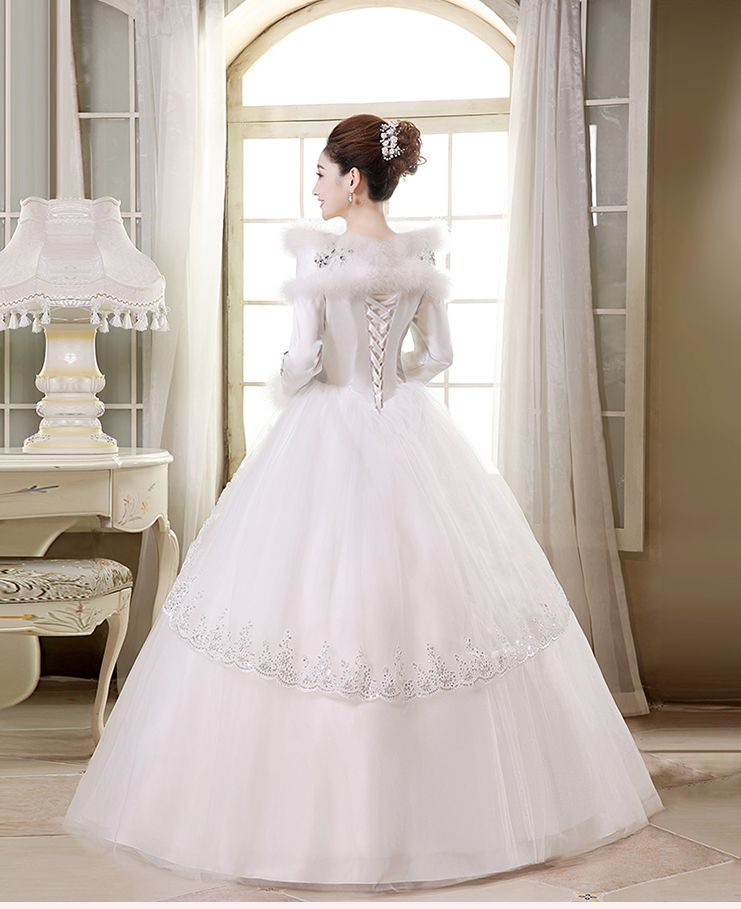 Jual wedding dress gaun pengantin lengan panjang kerah for Wedding dress stores in arkansas