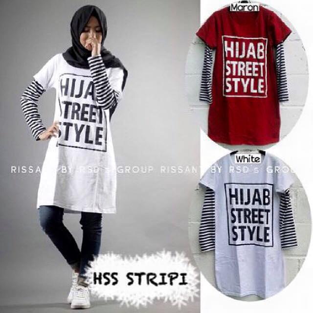 kaos hijab street style tangan panjang garis / hss stripe muslim