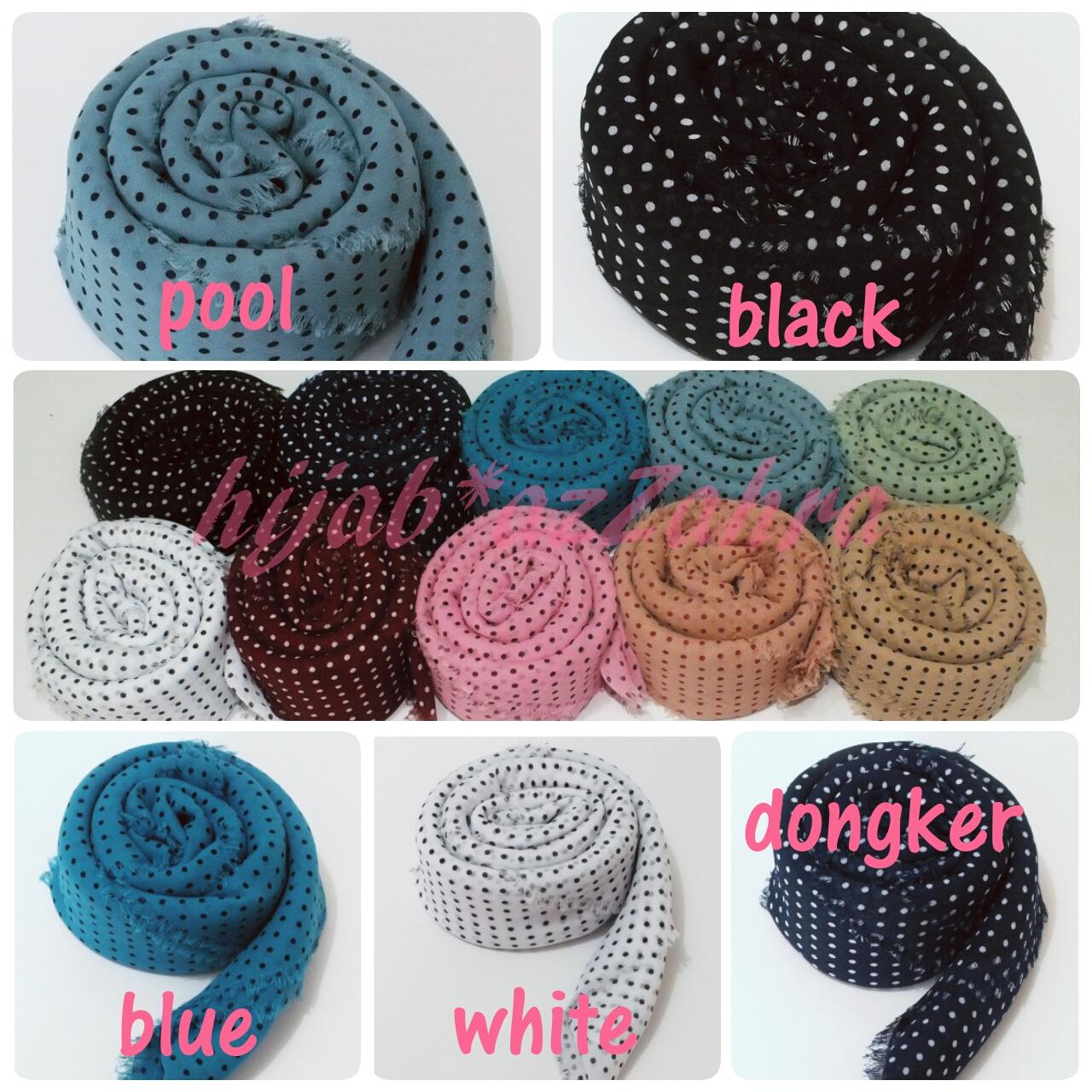 Jilbab segiempat sifon motif polka / hijab / termurah / supplier