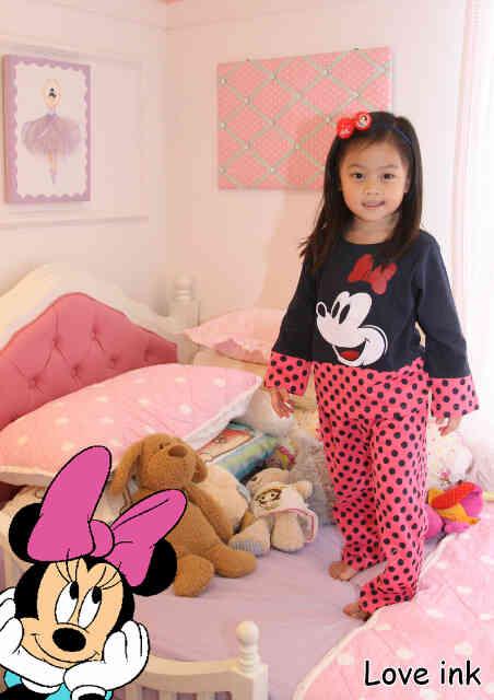 STKD226 - Setelan Anak Minnie Mouse Pink Navy Dot