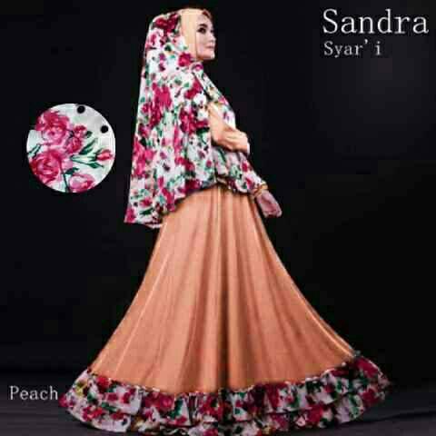 sandra syari peach / gamis syari / baju muslim murah / hijab syari