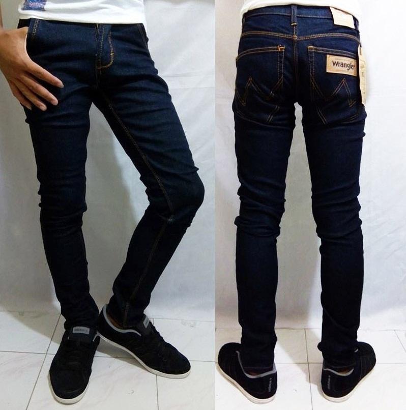 jual celana jeans pria wrangler skinny model pensil biru dongker jagad fashion tokopedia