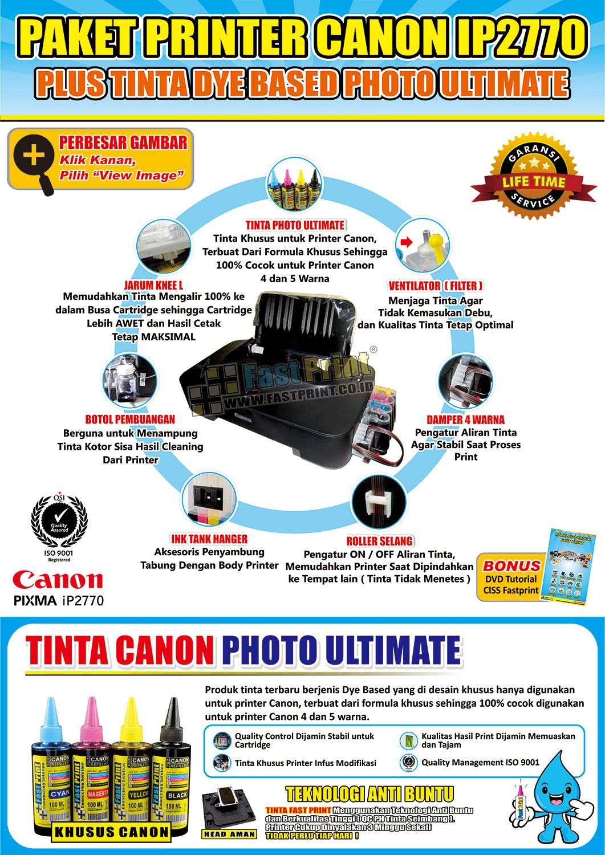 Jual Paket Printer Modifikasi Canon IP2770 Plus Tinta