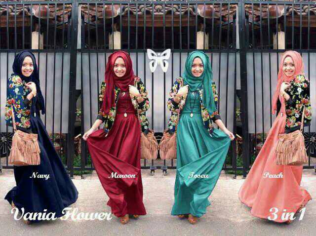 vania hijab set flower 3in1