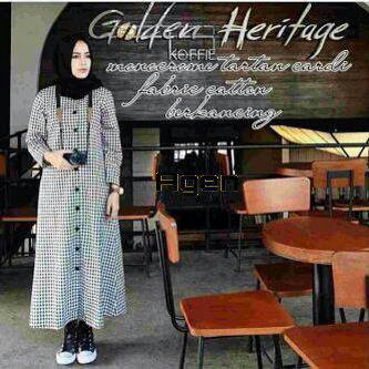 BREEFA LONG TUNIC CARDY DRESS HIJAB TARTAN MONOCHROME KOTAK HITAM