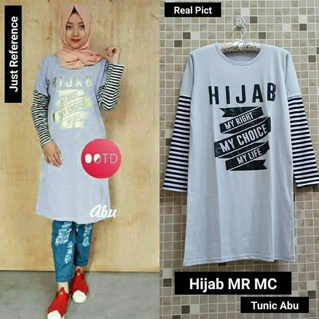 Grosir Baju Murah / Busana Muslim Terbaru / Hijab MRMC Tunic Abu