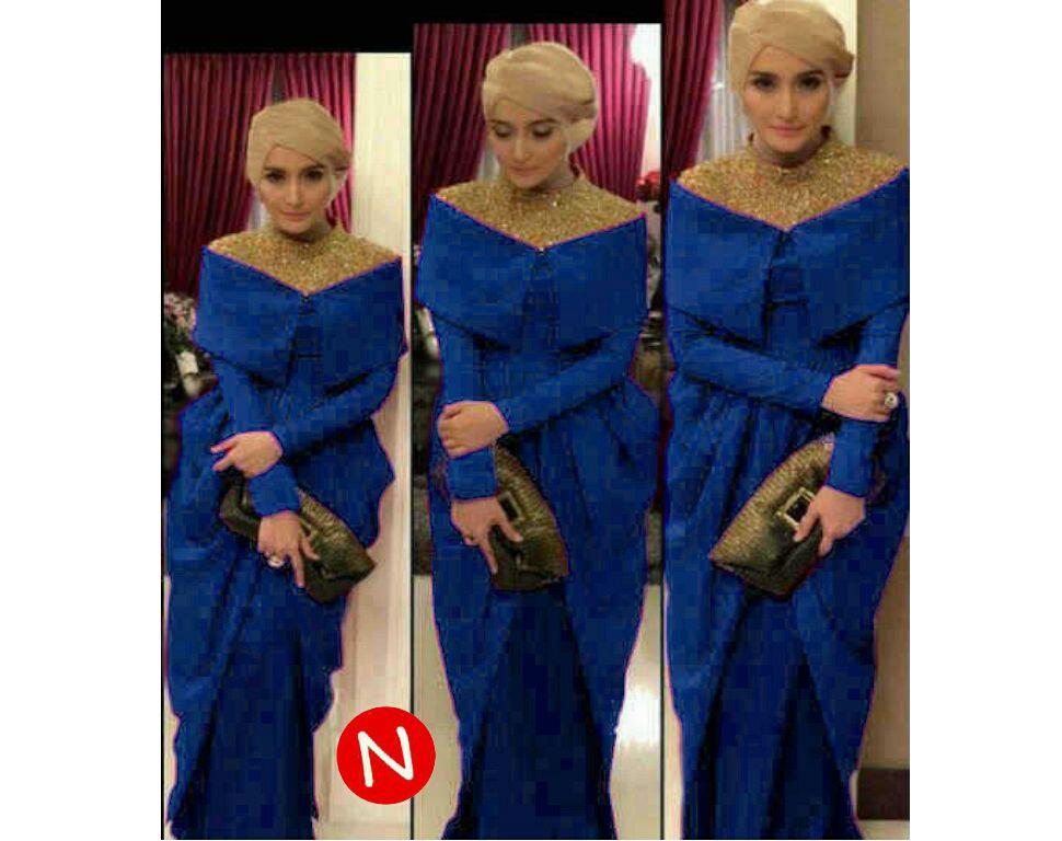 Maxi hijab payet jersey 9803-selma sequin (biru) L