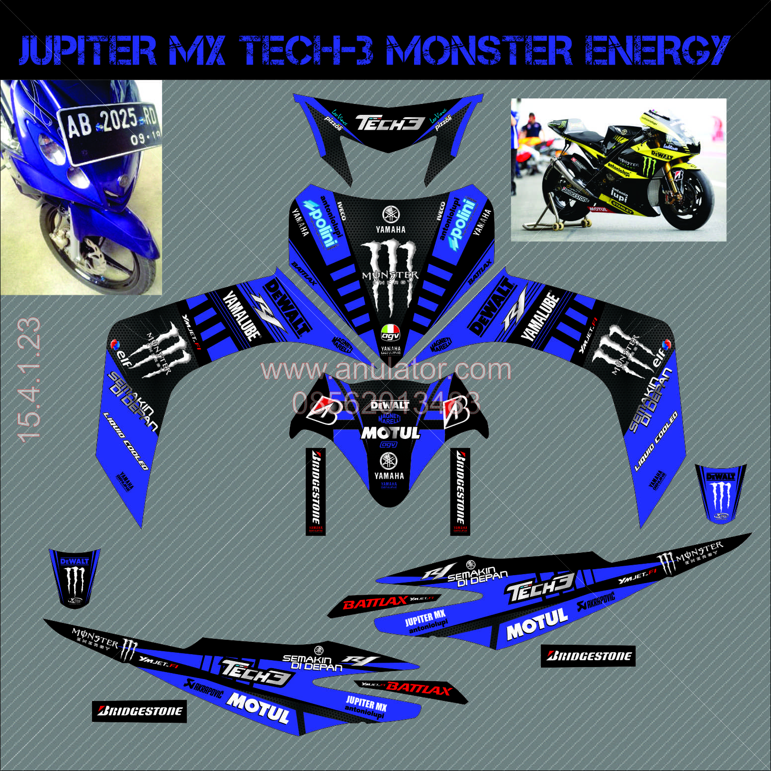 Jual sticker striping motor stiker yamaha jupiter mx blue