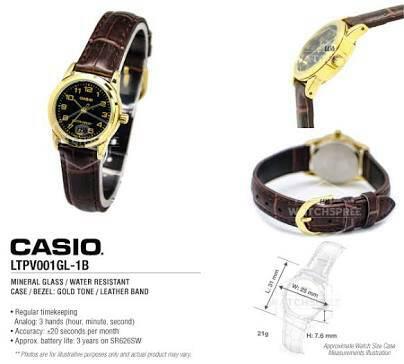 Jam Tangan Wanita Casio Original LTP-V001GL-1B Harga Grosir