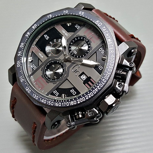 Jam Tangan Pria / Cowok GC Chrono SW Leather Dark Brown