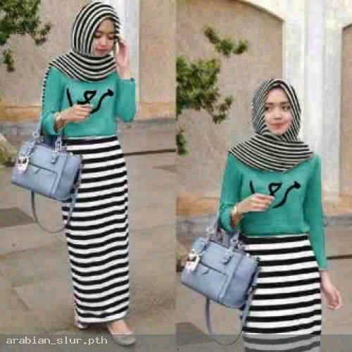 hijab arabian atasan toska. maxi + pasmina spandek fit L