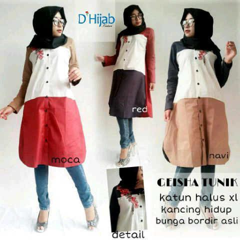 gheisha tunic katun (blouse/tunik/atasan/top muslim/hijab)