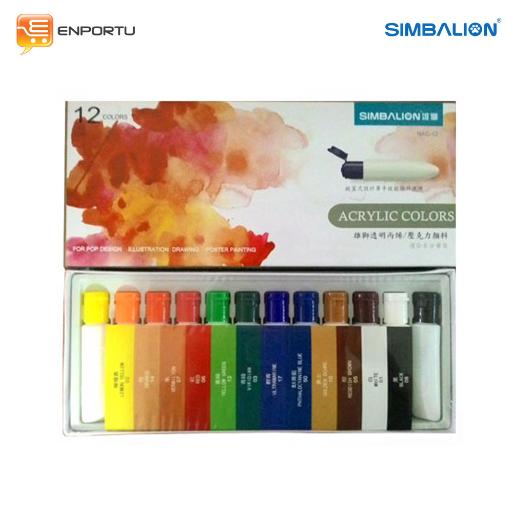 SIMBALION Cat Acrylic 12 Warna