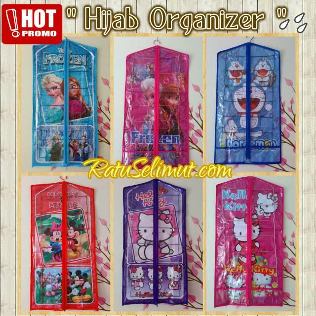 Gantungan Jilbab Karakter / Hijab Organizer Motif Frozen, Hellokitty
