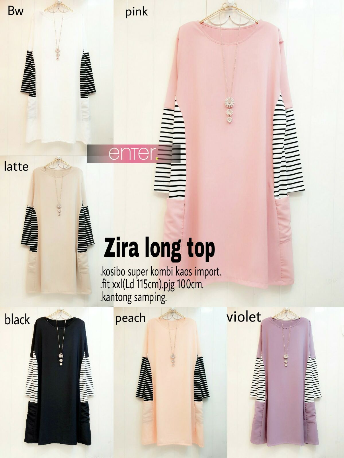 SUPPLIER HIJAB REALPICT : zira long top by enter
