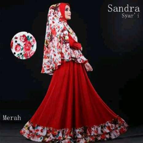 Hijab sandra Merah ( Maxi + Busui + bergo )