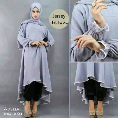 Setelan adelia hijab grey 3in1