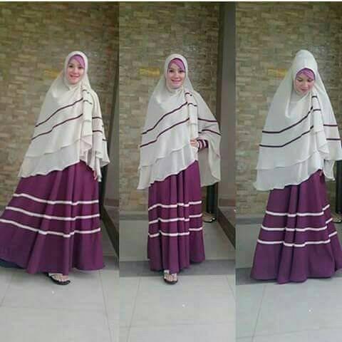 bergo violet / gamis syari / busana muslim / hijab syari