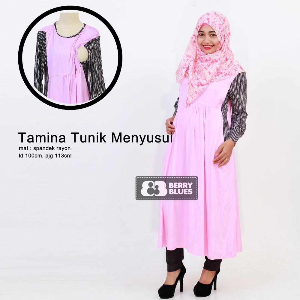 Tunik Menyusui - TAMINA Pink / Baju Menyusui / Hijab Muslim