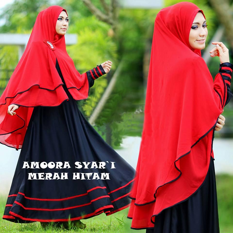 Jual Baju Busana Muslim Gamis Amora Syar I Merah Hitam Bergo No Pad