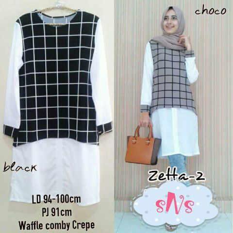 zetta 2 (SNS) katun rayon fit L  /blouse/tunik/atasan/top muslim/hijab