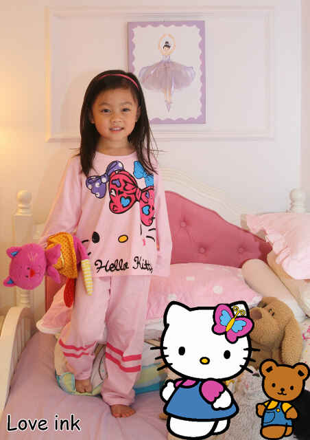 STKDHK112 - Setelan Piyama Anak Hello Kitty Ribbon Star Pink Murah
