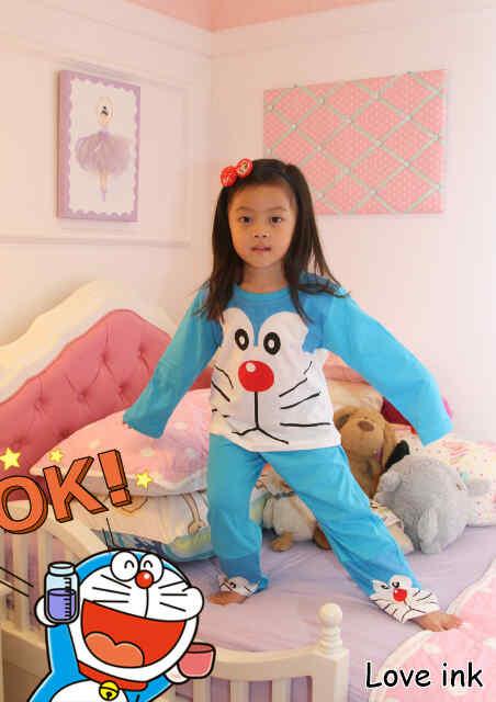 STKDDR29 - Setelan Piyama Anak Doraemon Big Face Blue Murah