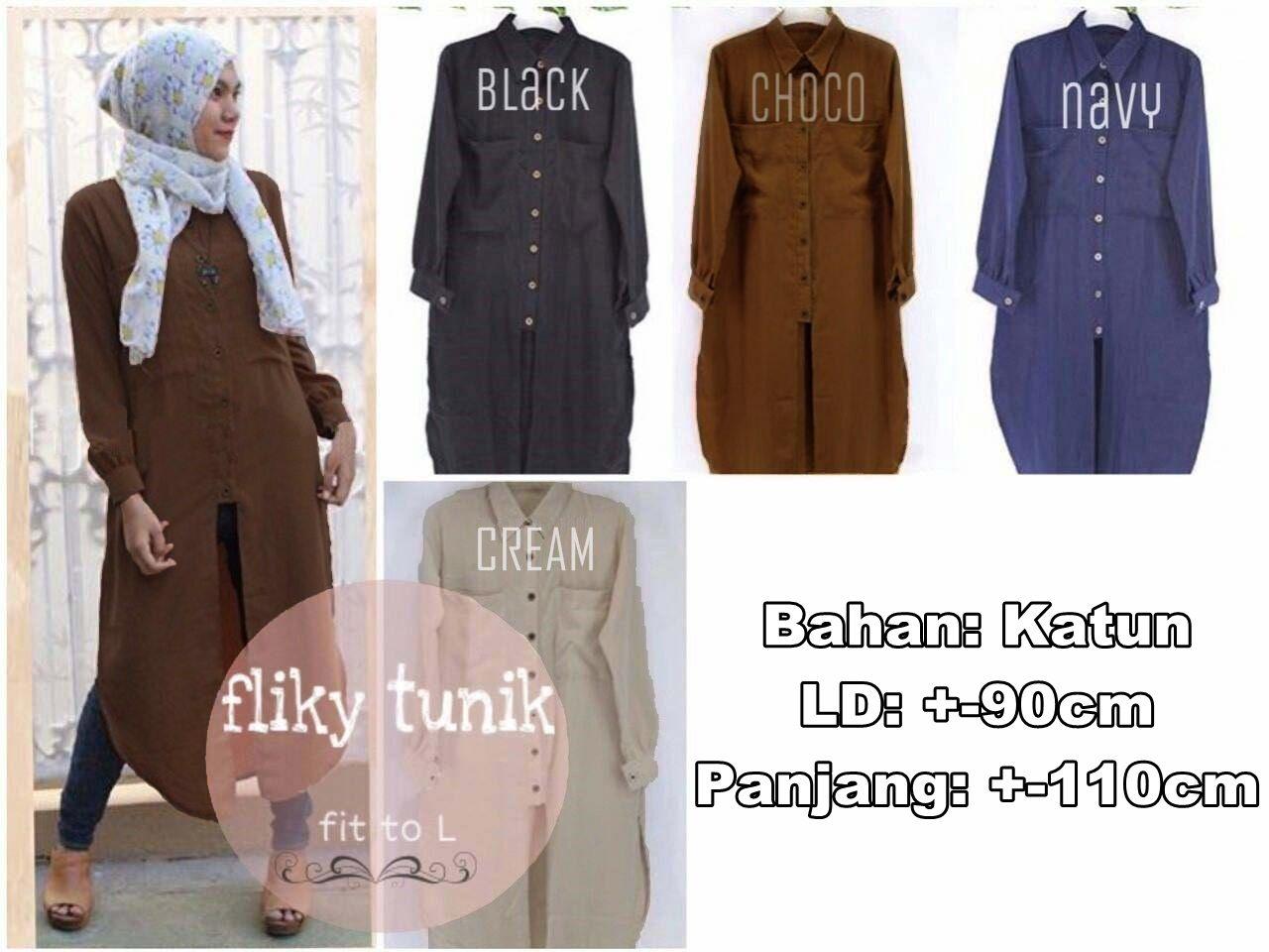 flicky tunic / tunik hijab terbaru murah / baju menyusui / dress hitam