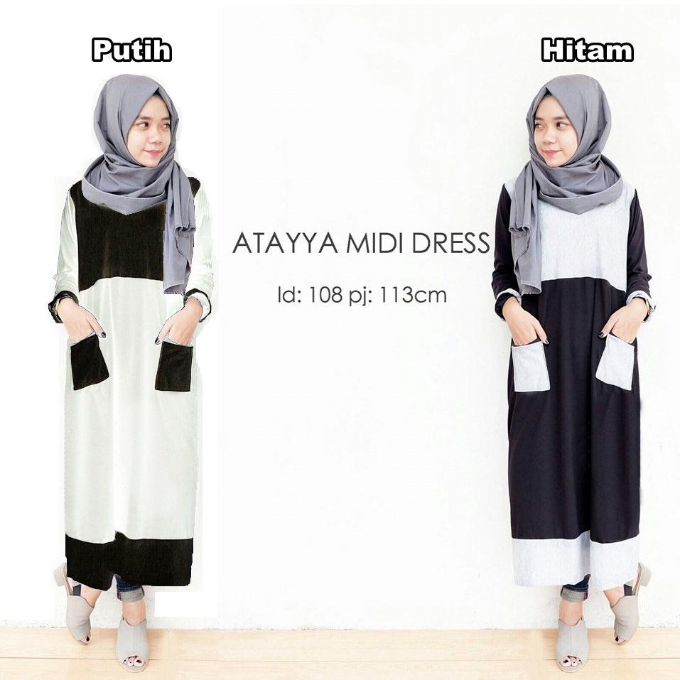 Atayya midi dress / grosir hijab / atasan muslimah / baju wanita murah