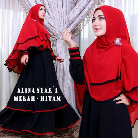 Gamis Syari Busui Alina Merah Hitam (terbaru,cantik,modern,modis)
