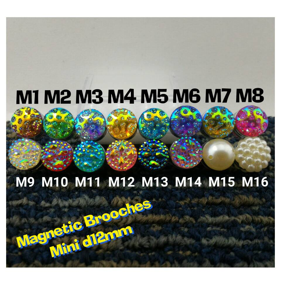 Pin Bross Magnet mini d12mm untuk Hijab Jilbab Kerudung mewah dan Unik