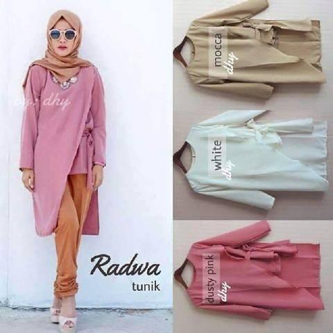 Tunik pink / baju pink / atasan putih / Radwah Tunic / supplier hijab