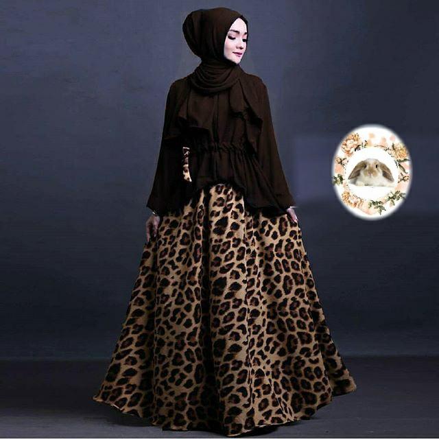 Hijab Evira Set Coklat Tua( atasan +pashmina + Rok )