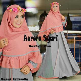 Gamis Syari Aurora Dusty Abu ( suplayer grosir produksi sendiri)