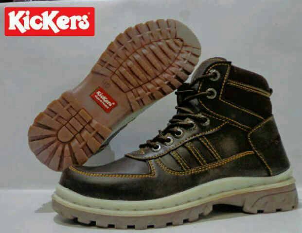 Jual Sepatu Boots Kickers Safety Brown / Kulit / ujung besi Murah