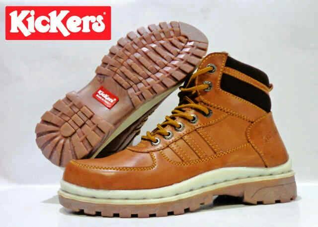 Jual Sepatu Boots Kickers Safety Tan / Kulit / ujung besi Murah
