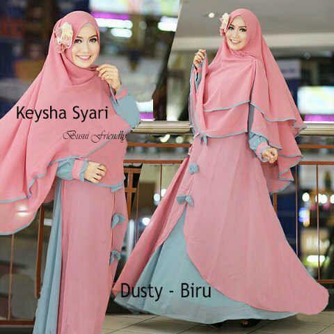 Gamis Syari Jumbo Keysha Dusty Biru (terbaru,cantik,modern,modis)