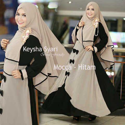 Gamis Syari Jumbo Keysha Mocca Hitam (terbaru,cantik,modern,modis)