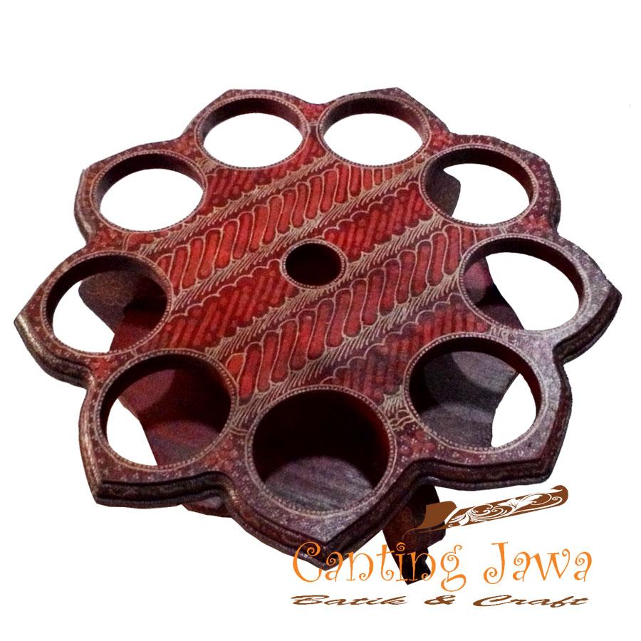 Jual Rak Kayu Tempat Air Mineral Gelas Aqua Cup Batik Model Mawar Ram004 Canting Jawa Tokopedia
