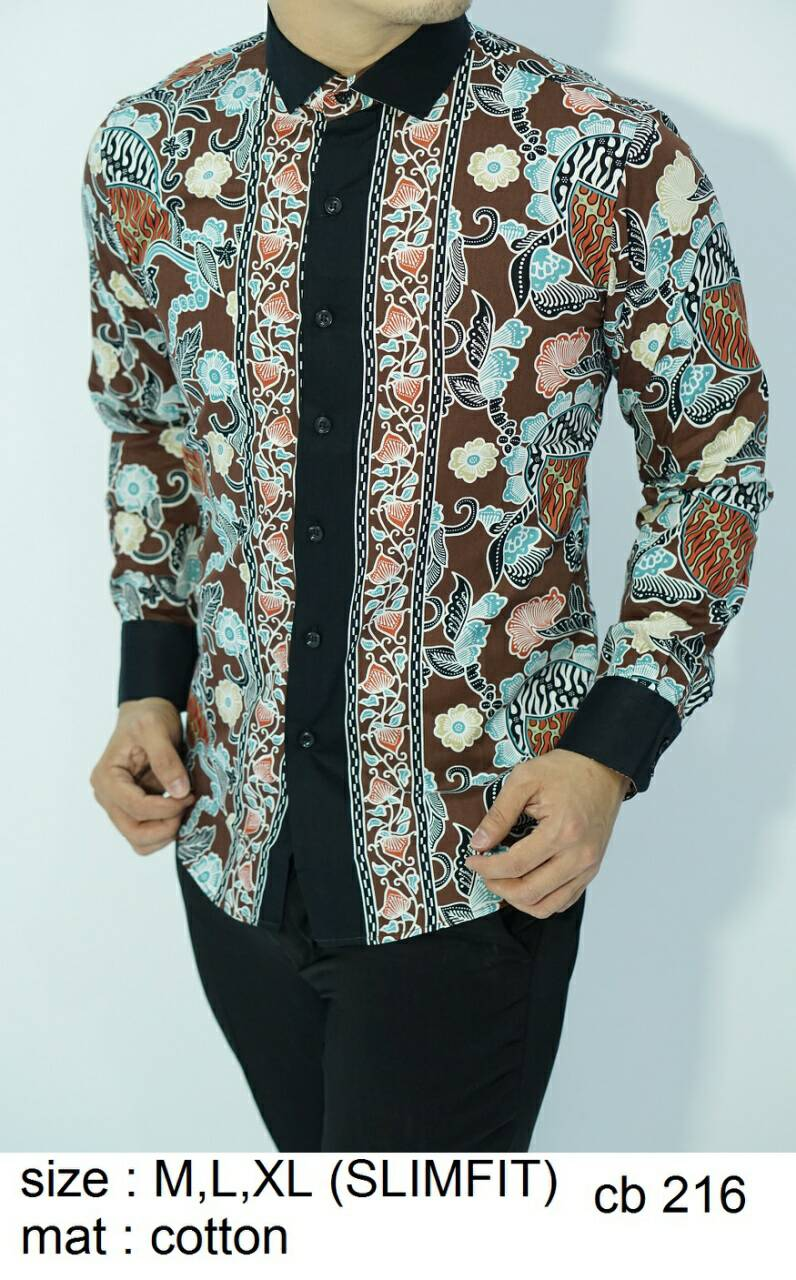 Batik Slim Fit - KUALITAS MALL ELITE!! - Kemeja Slimfit Keren CB216