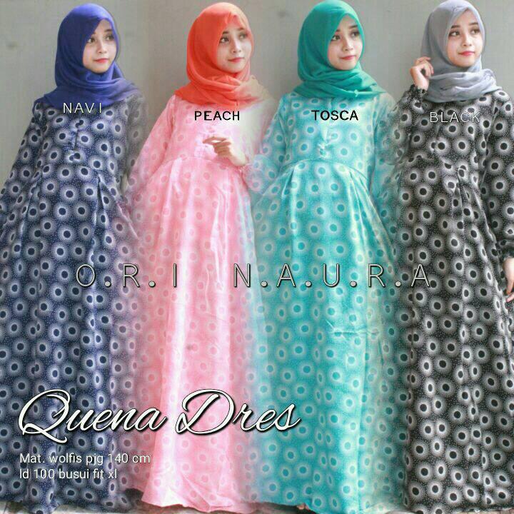 Quena dress ori Naura gamis hijab bhn wolfis