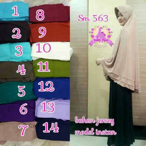 Jilbab Hijab Kerudung Instan Jersey Polos Jumbo Syar'i SM563