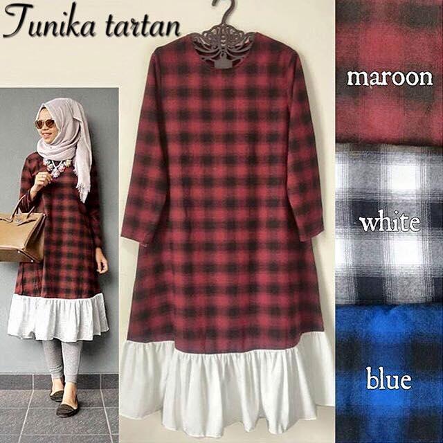 baju muslimah HOTD / hijab terbaru / Tunika Tartan / supplier pakaian