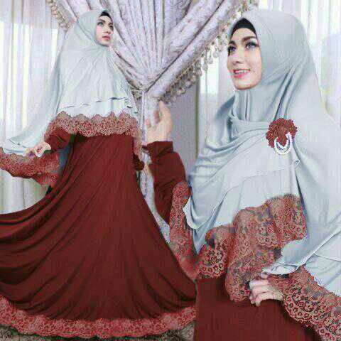 Kimora maron hijab syari set 2in1