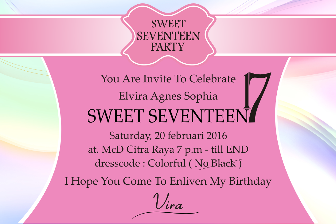 Jual Undangan Ultah Sweet Seventeen PERCETAKAN DHUY Tokopedia - Contoh invitation card sweet seventeen birthday party