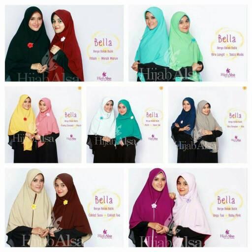 Hijab Alsa Bella Bergo/jilbab Instan Jumbo Warna Bolak-balik Size M