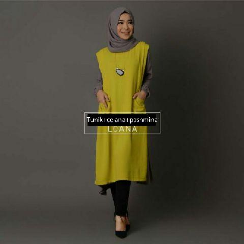 Hijab Loana blue coco set 3in1  (tunik+celana joger+pasmina)