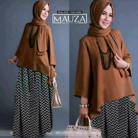 HIjab MAUZA Brown 3IN1 ( Blouse + Rok + pashmina )