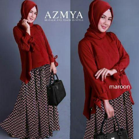HIJAB AZMYA MAROON set 3IN1 (Blouse + Rok + Pashmina )